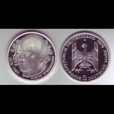 Silbermünze 5 DM 1978 D Gustav Stresemann polierte Platte in Kapsel