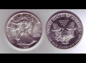 Silbermünze 1 OZ USA Liberty 1 Dollar 1988