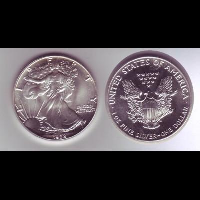 Silbermünze 1 OZ USA Liberty 1 Dollar 1988