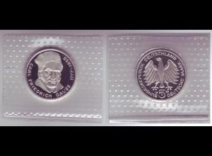 Silbermünze 5 DM 1977 J Friedrich Gauss polierte Platte /24