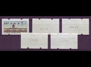 Berlin ATM 2 Versandstellensatz VS2 5 Werte mit Nummer postfrisch
