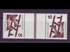 Bund 695 Zusammendruck KZ9 b Unfall 10/10 Pf Strichleiste siena postfrisch