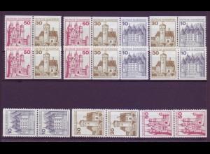 Bund 913,914,916 Zusammendrucke 9x W57-W62 aus MH 21 Burgen + Schlösser **